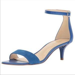 Nine West Blue Leather Suede Ankle Strap Kitten 6